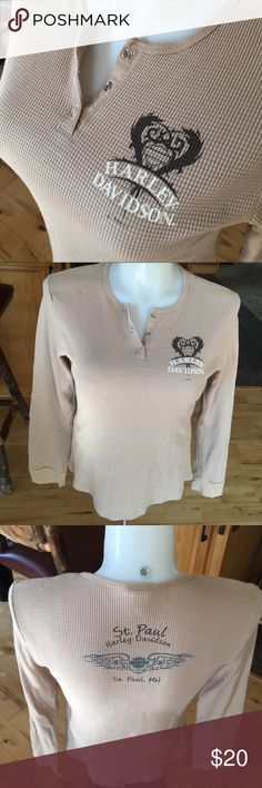 Harley Davidson thermal long sleeve shirt. Size L This was one of my favorites.  I have had this s long time!  Hard to part with it.. Good used condition!! Tan and brown Harley-Davidson Tops Tees - Short Sleeve