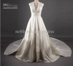 simple a line wedding dress v neck lace cathedral train