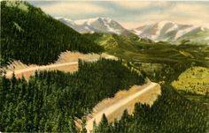 Vintage Colorado postcard of Mummy Range & Mt. Ypsilon from Trail Ridge Road, Estes Park to Grand Lake.