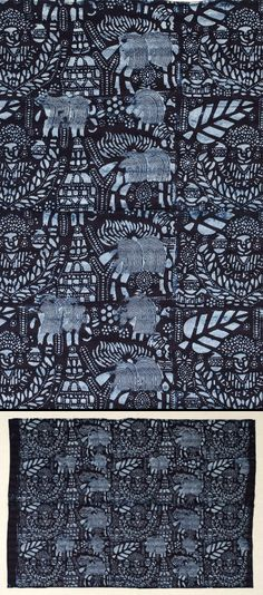 "Africa | Adire electro cotton wrapper from the Yoruba people of western Nigeria | ""Coronation, Jubilee or Oloba"" design; Stencil start resist and indigo dyed cotton 