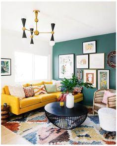 Colourful Living Room, Boho Living Room, Living Room Sofa, Dining Room, Bright Living Rooms, Apartment Living, Yellow Walls Living Room, Cozy Living, Living Room Colors