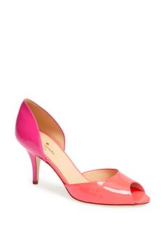 2ba766677eb Nice mix of lipstick pink and coral. These Kate Spade d Orsay pumps are
