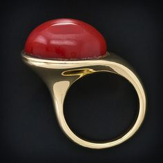 Coral Cabochon / 18 Karat Yellow Gold Ring ~ by Tiffany & Co.  post-modernist jewelry designer - Elsa Peretti.