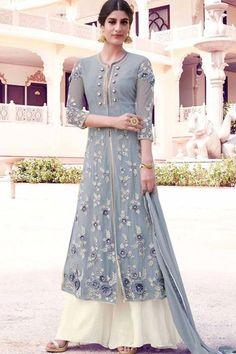 Grey & Off White Georgette Semi Stitch Designer Dress