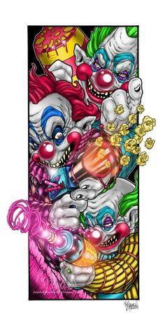Chaos and Cotton Candy by ZombieTheArtist on DeviantArt Insane Clown, Creepy Clown, Evil Clown Tattoos, Chicano Art Tattoos, Clown Horror, Horror Artwork, Marijuana Art, Evil Clowns, Flash Art