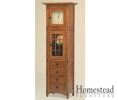 McCoy Display Clock http://www.homesteadfurnitureonline.com/clocks_mccoy-display.html Exposed joints and hardware suggest Mission styling in this handcrafted piece. Pair it with other McCoy pieces to create a complete look. Create a warm environment by choosing from a variety of hardwoods and finishes.