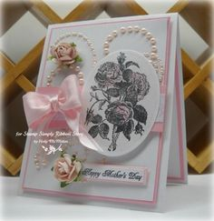 Mother's Day card created by Holly for The Stamp Simply Ribbon Store using product carried by LaBlanche, JustRite, Prima, Kaisercraft, Spellbinders and May Arts.