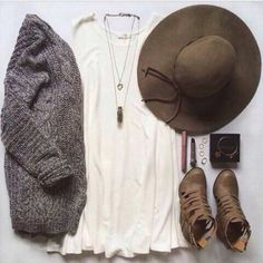 Not the shoes, but everything else - love! The drape of the white top, chunky grey sweater, that hat!
