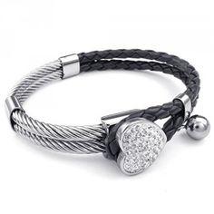 88ed4dcc43609 KONOV Bijoux Bracelet Femme - Coeur Charm Tressé Manchette - Cuir - A.  Chaîne De Main · Couleurs Noires ...