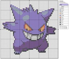 Click the image to enlarge, right click and select Save As to download the pattern. To see what it'll look like stitched, check out what other people have made below. Gengar - Cross-Stitching by ~Lenz64 on deviantART 094 - Gengar by *Devi-Tiger on deviantART