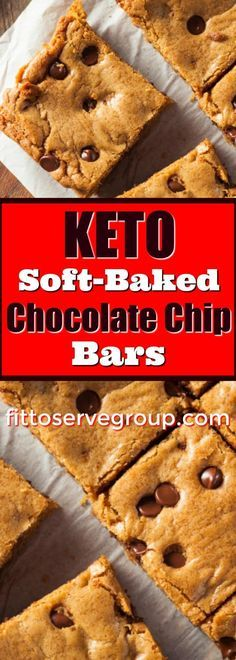 If youre wanting a chocolate chip bar reci - Keto Recipes - Ideas of Keto Recipes - Keto Soft Baked Chocolate Chip Bars. If youre wanting a chocolate chip bar recipe that is low in carbs and keto-friendly these are it. Keto Friendly Desserts, Low Carb Desserts, Low Carb Recipes, Dessert Recipes, Keto Friendly Chips, Dessert Ideas, Keto Friendly Protein Bars, Keto Desert Recipes, Keto Friendly Chocolate