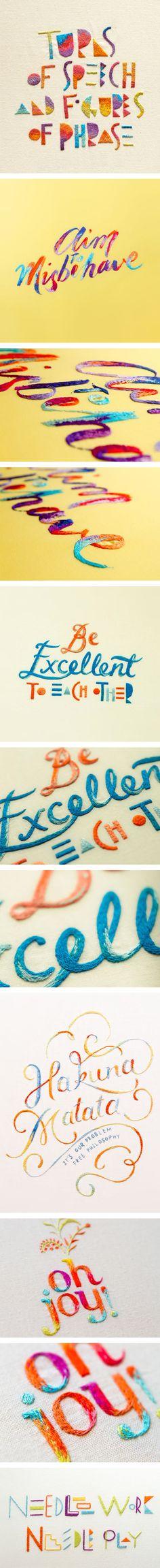 Typographie et broderie par Maricor et Maricar Manalo