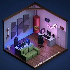 Likes, 32 Comments - Gaming Setups Best Gaming Setup, Gaming Room Setup, Choses Cool, Computer Desk Setup, Best Gaming Wallpapers, Bedroom Setup, Video Game Rooms, Isometric Design, Game Room Design