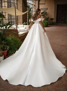 Apr 2020 - Magbridal Romantic Satin Off-the-shoulder Neckline Ball Gown Wedding Dresses Elegant Ball Gowns, Elegant Wedding Dress, Best Wedding Dresses, Wedding Attire, Bridal Dresses, Wedding Gowns, Elegant Dresses, Bridal Robes, Ball Dresses