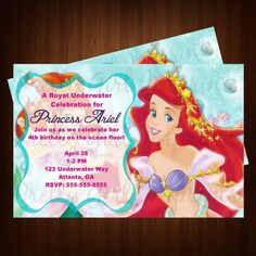 Little Mermaid- Princess Ariel Birthday Party Invitation   so can make these!