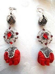boucles d'oreille pendante argent grise et rouge