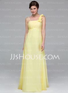 Bridesmaid Dresses - $109.99 - Empire Floor-Length Chiffon Bridesmaid Dress With Ruffle Flower(s) (007037247) http://jjshouse.com/Empire-Floor-Length-Chiffon-Bridesmaid-Dress-With-Ruffle-Flower-S-007037247-g37247