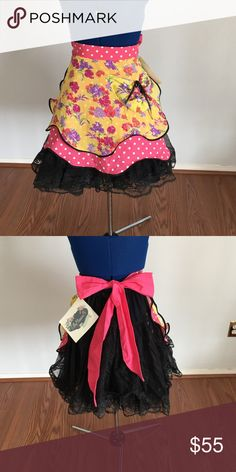 Pink and Yellow Vintage Style Apron NWT vintage style half Apron. Silk yellow with floral pink and pink with white polka dots. Black trim. Ties in big pink bow at back. EllaMinnow Pea Accessories