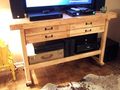 Harbor Freight Wooden Work Bench converted into an Entertainment Center - by jenny elkins