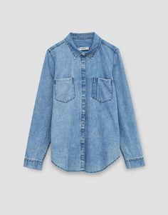 Рубашка из денима с длинными рукавами - Denim Collection - DENIM - HIDDEN - PULL&BEAR Российская Федерация
