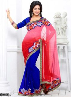 Deepika Singh Pink And Blue Chiffon Georgette Party Wear Saree  http://www.angelnx.com/Bollywood