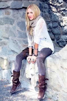 White sweater, colored jeans, brown boots, scarf, bracelets