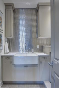 Best Beautiful Laundry Room Features Light Gray Cabinets Paired 400 x 300