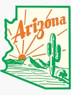 arizona cactus Arizona Cactus Vintage Travel Decal / These retro travel designs will make a great addition to your RV / Airstream / Winnebago / travel trailer / motorhome / westfalia / Arizona Tattoo, Grand Canyon, Arizona Cactus, Logo Vintage, Vintage Graphic Design, Vintage Room, Retro Room, Vintage Type, Vintage Party
