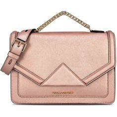 Karl Lagerfeld K/Klassik Shoulderbag found on Polyvore featuring bags, handbags, shoulder bags, bolsas, metal rose, leather hand bags, leather envelope clutch, envelope clutch, hand bags and pink leather purse