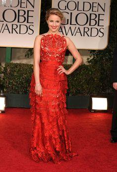 Pin for Later: Les 65 Tenues les Plus Glamour Jamais Vues aux Golden Globes Dianna Agron, 2012 Portant une robe signée Giles Deacon.