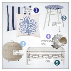 """""""Coastal Outdoor Decor"""" by kathykuohome ❤ liked on Polyvore featuring interior, interiors, interior design, home, home decor, interior decorating, Oly, homedecor, beachhouse and outdoorliving"""