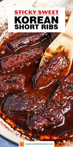 These Korean Braised Short Ribs (Galbi Jjim) consist of beef short ribs that are braised in a spicy, sweet, and sticky sauce. Best Beef Recipes, Rib Recipes, Asian Recipes, Mexican Food Recipes, Cooking Recipes, Favorite Recipes, Asian Desserts, Grilling Recipes, Korean Beef Recipes