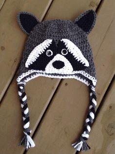 Crochet Raccoon Hat Baby Crochet Hat Photo Prop by TheCrochetZoo