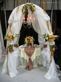 Bridal canopy created by DLG Creative Management Wedding & Events - can be used for ceremony or as couple's table at reception
