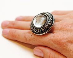 wire-wrapped button statement rings