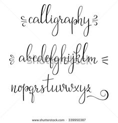 Handwritten pointed pen ink style modern calligraphy cursive font. Calligraphy alphabet. Cute calligraphy letters and flourishes. Isolated letter elements. Typography, decorative graphic design.