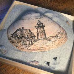 """Cape Cod, MA"" ink pen on a seashell.  #draw #seashell #capecod #lighthouse #dunes #ocean #beach #sharktooth #fossil #inkpen"