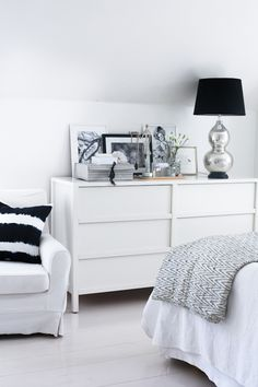 Silver and white dresser decor