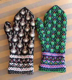 Bunny and Frog Mittens by Jocelyn White