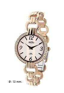 Reloj de acero para mujer de la marca Micro. Reloj de pulsera con correa de eslabones. Números árabes y bisel de circonitas.
