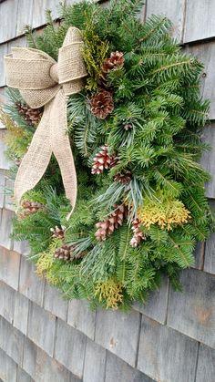 Large Fresh Maine Evergreen Wreath Christmas Porch, Christmas Wreaths, Fresh Wreath, Burlap Bows, Porch Decorating, Pine Cones, Evergreen, Maine, Holiday Decor