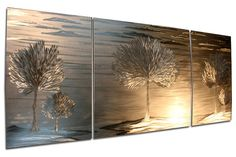 Landscape Metal Wall Art 'Vindication' - 62x24 in. - Pure Metal Modern Wall Sculpture - Trees and Clouds - Nature Wall Decor on Etsy, $990.00