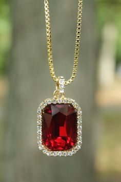 """Stone Pendant Size : """" x """". Ruby Necklace, Men Necklace, Fashion Necklace, Pendant Necklace, Earrings, Dainty Jewelry, Jewlery, Gold Chains For Men, Gem Stones"""