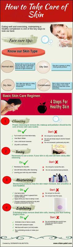 How to Take Care of Skin http://visual.ly/how-take-care-skin?utm_content=buffer68071&utm_medium=social&utm_source=pinterest.com&utm_campaign=buffer #skincare #skincaretips #skin