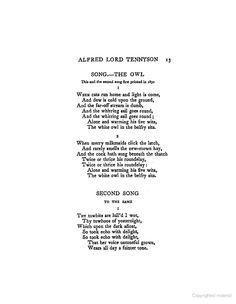 Alfred Lord Tennyson: The Owl (poetry)