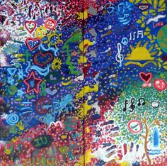 Two Countries, One Painting LHS World Vision PHILIPPINESE and RHS United Synergies AUSTRALIA (two panels 15in x 30in canvas)  - inspirational group paintings using doodles #DoodleJam http://www.doodlejam.com
