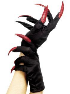 Käsineet glitterkynsillä. Pirullisen näyttävät mustat käsineet on viimeistelty kirjaimellisesti sormenpäitä myöten, sillä hanskoissa on kirkkaanpunaiset pitkät glitterkynnet sormien jatkona.