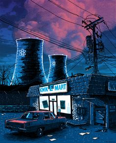 """Artist Tim Doyle has recreated iconic establishments from TV shows like """"Seinfeld,"""" """"The Simpsons,"""" and """"Arrested Development"""" for his latest show at Spoke Art. The Kwik-E-Mart never looked so spooky. Cinema 4d, Kwik E Mart, Pop Art, Simpsons Art, Pop Culture Art, Nuclear Power, Geek Art, Illustrations Posters, Concept Art"""