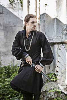 Black Medieval Linen Warrior Tunic poet sleeve shirt by armstreet