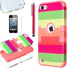Pandamimi ULAK(TM) Hybrid Hard Pattern with Silicon Case Cover for Apple iPod Touch 5 Generation with Screen Protector and Stylus (Water Red/Rainbow) ULAK http://www.amazon.com/dp/B00LB316E4/ref=cm_sw_r_pi_dp_wx7Vtb0R6YTTRT9T